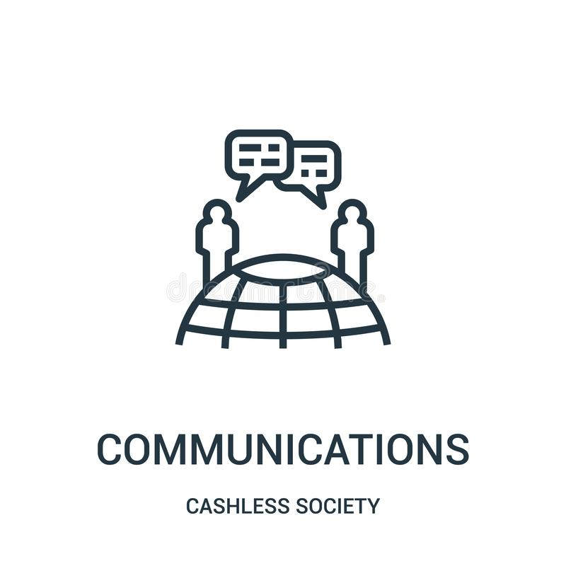 通信从无钱的社会收藏的象传染媒介 稀薄的有线通信概述象传染媒介例证 库存例证