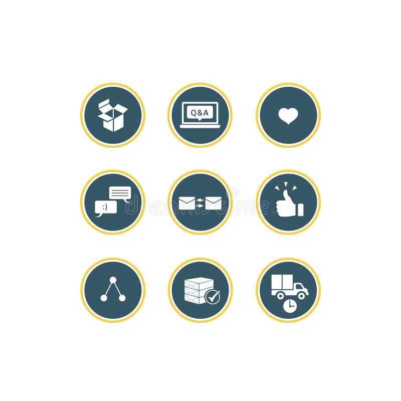 通信和服务传染媒介象设置了,白色背景、传染媒介您的设计的或另一件艺术品 图库摄影