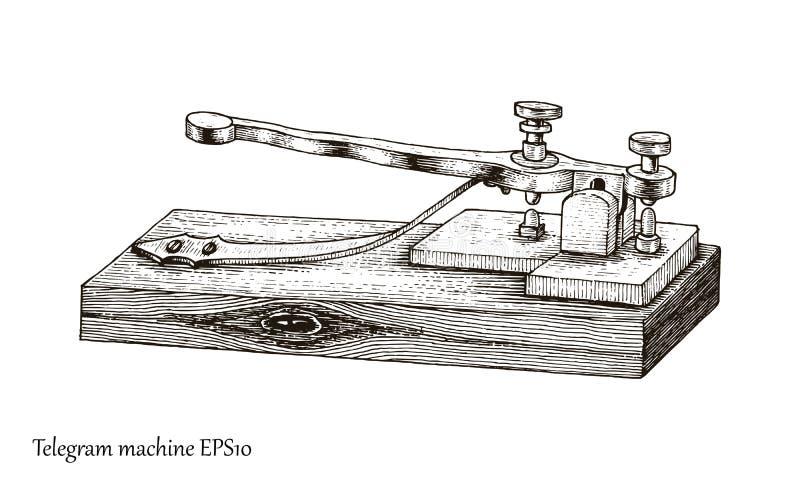通信机手图画葡萄酒样式 库存例证