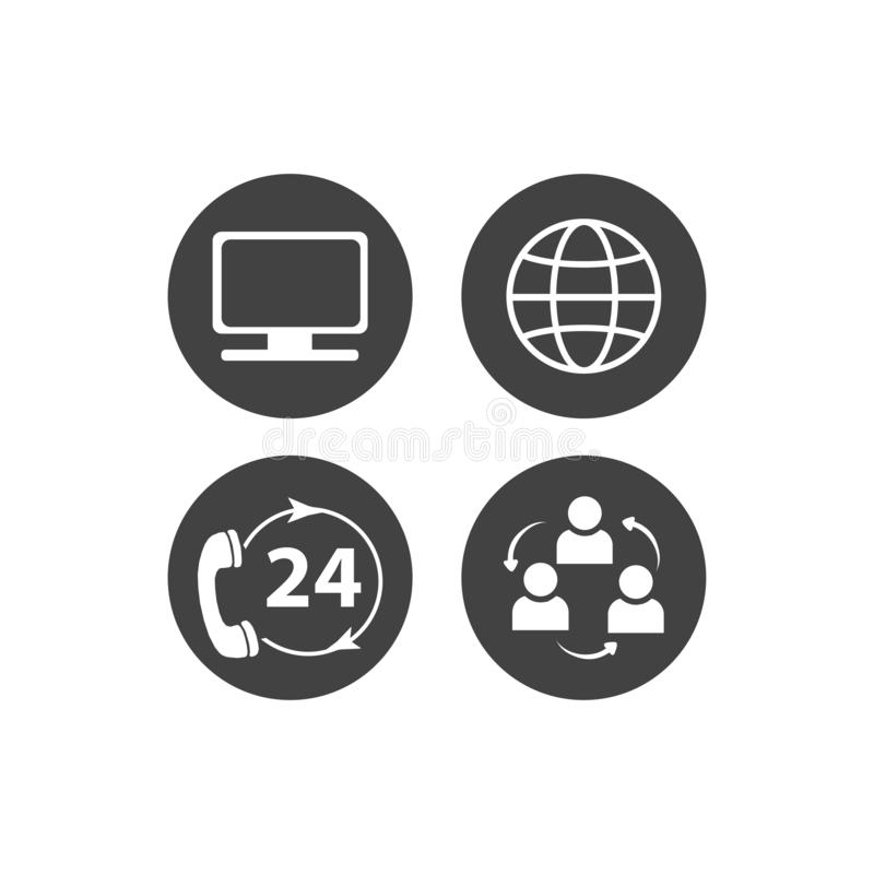 通信标志的汇集 联络、电子邮件、手机、消息,无线技术象等 也corel凹道例证向量 库存例证