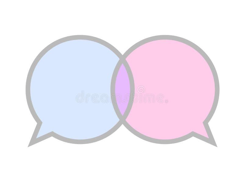 通信标志象蓝色和桃红色讲话泡影标志 皇族释放例证