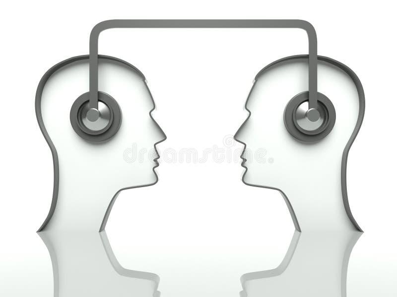 通信概念朝向耳机 库存例证