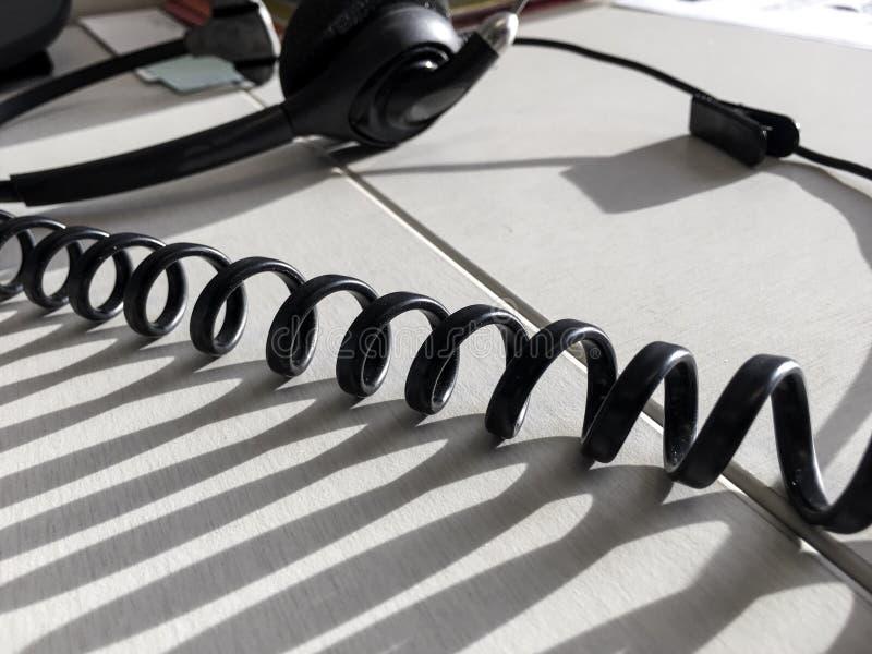 通信电话中心桌面背景特写镜头细节 免版税库存图片