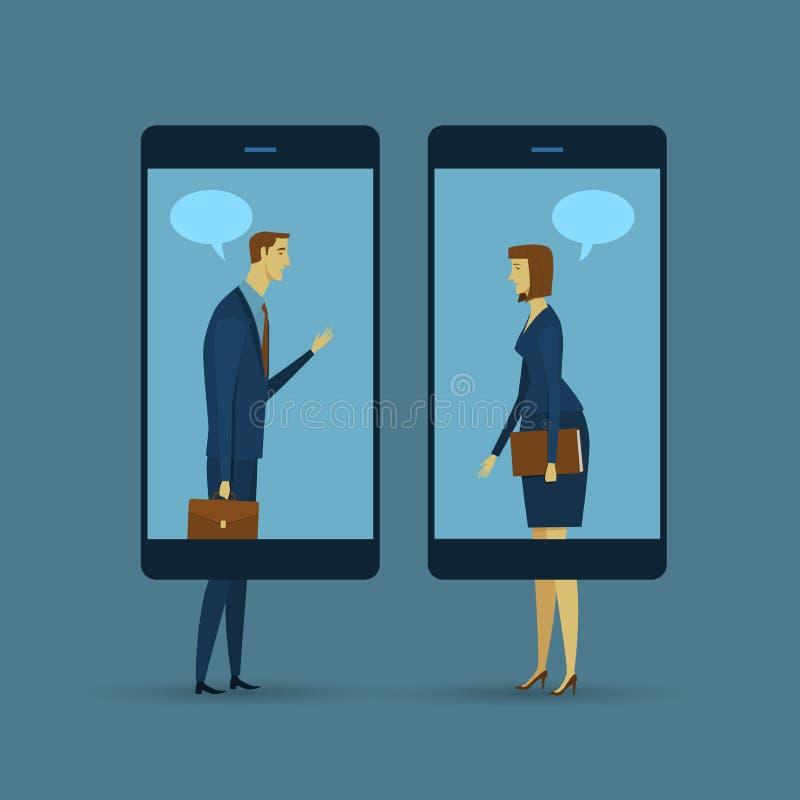 通信的抽象企业概念 向量例证