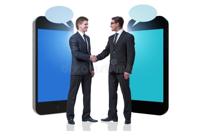 通信的概念与商人握手的 向量例证