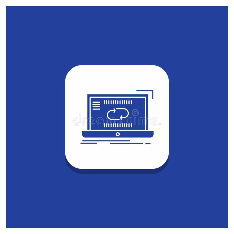 通信的,连接,链接,同步,同步纵的沟纹象蓝色圆的按钮 库存例证