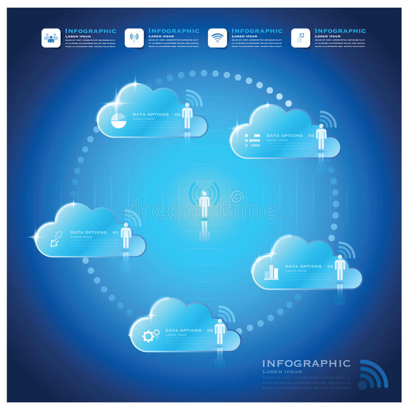 通信连接云彩形状企业Infographic设计 皇族释放例证