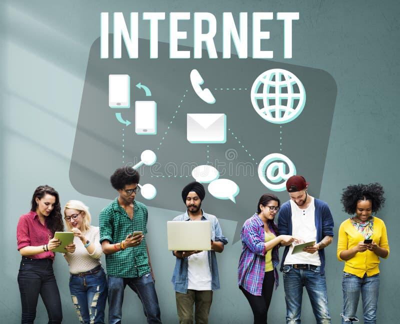 通信连接互联网多媒体技术概念 库存照片