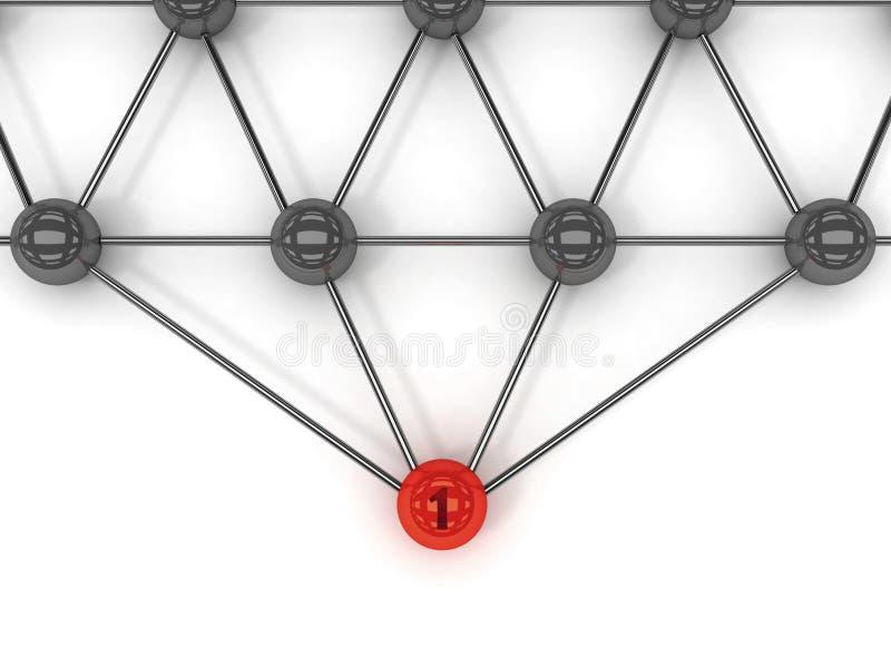 通信隐喻。在前面的红色领导。 向量例证