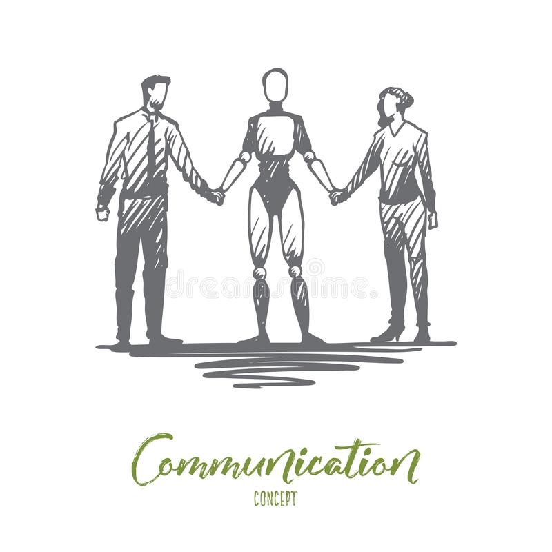 通信, HCI,自动化,商人,合作概念 手拉的被隔绝的传染媒介 库存例证