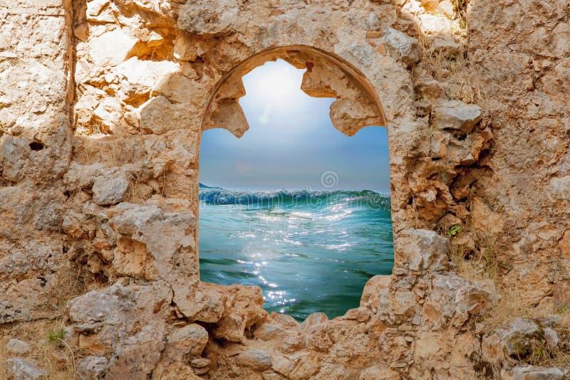 通入的抽象图象向作为欲望的标志的海在手段的一暑假 免版税库存照片