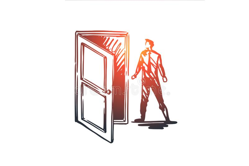 通入,门,打开,输入,企业概念 手拉的被隔绝的传染媒介 库存例证