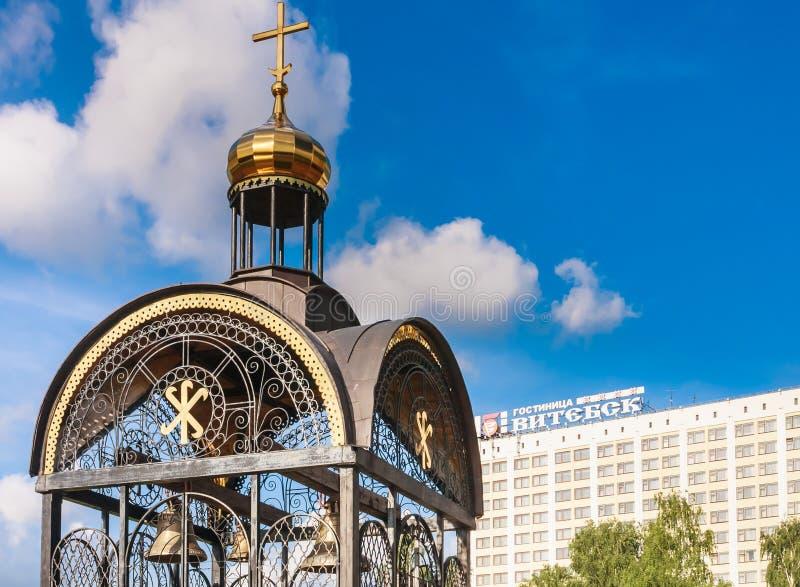 通告教会,维帖布斯克的教会响铃枪手 图库摄影