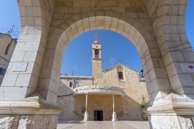通告的希腊东正教在拿撒勒以色列 免版税库存图片