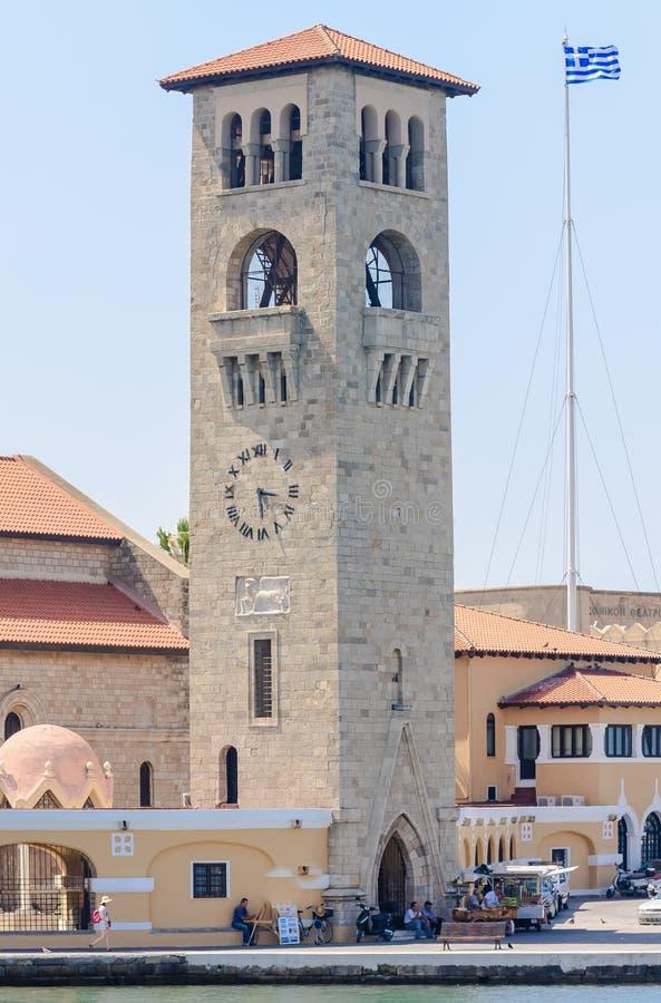 通告的教会的钟楼 罗得斯 希腊 免版税图库摄影