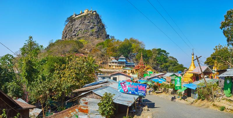通往波帕岛塔翁Kalat,缅甸的道路 库存图片