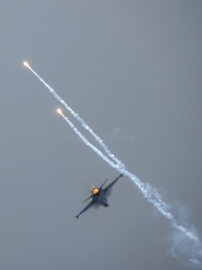 通用动力公司F-16战隼,超音速多角色战机 库存图片