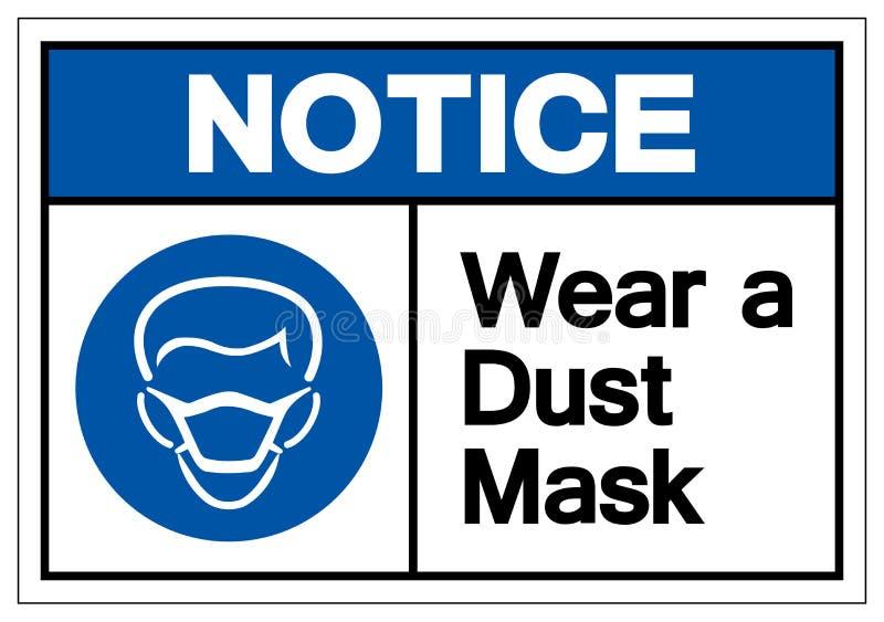 通知佩带防尘面具标志标志,传染媒介例证,在白色背景标签的孤立 EPS10 库存例证