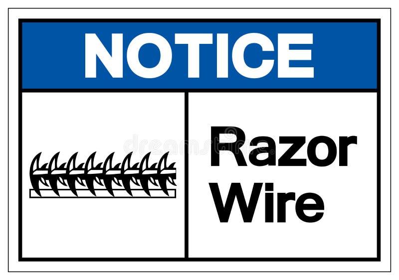 通知剃刀导线标志标志,传染媒介例证,隔绝在白色背景标签 EPS10 库存例证