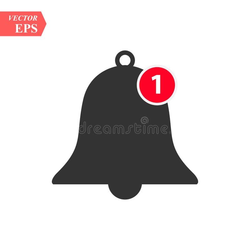 通知响铃象 导航响铃和通知数字标志接踵而来的inbox消息的在智能手机应用 向量例证