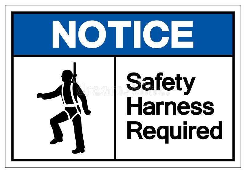 通知安全带要求标志标志,传染媒介例证,在白色背景标签的孤立 EPS10 向量例证