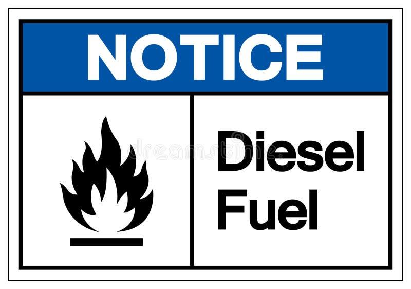 通知柴油标志标志,传染媒介例证,在白色背景标签的孤立 EPS10 皇族释放例证