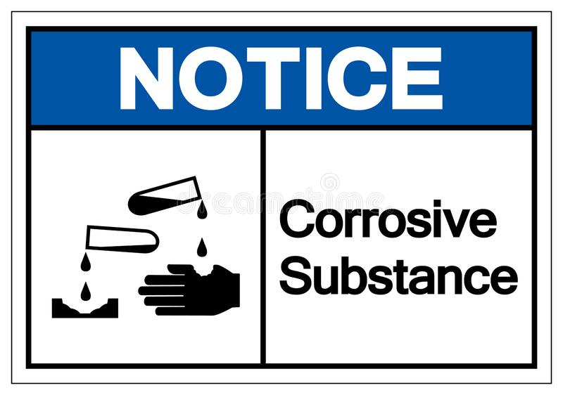 通知腐蚀物标志标志,传染媒介例证,在白色背景标签的孤立 EPS10 库存例证