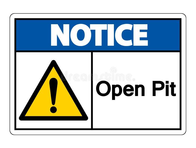 通知露天开采矿标志在白色背景,传染媒介例证的标志孤立 库存例证