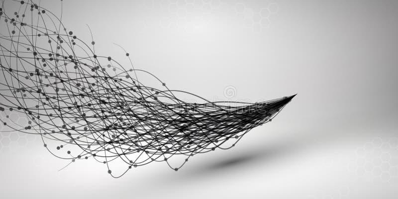 通知 与被连接的线和小点的漩涡 架线的结构 3d概念连接数齿轮机构 背景二进制代码地球电话行星技术 皇族释放例证