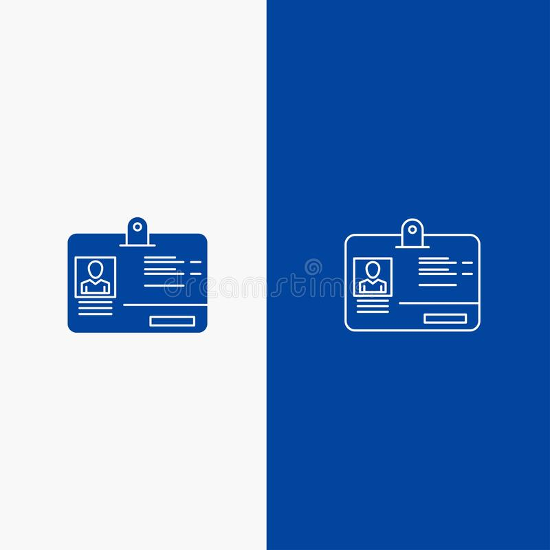 通行证、卡片、身分、Id线和纵的沟纹坚实象蓝色旗和纵的沟纹坚实象蓝色横幅 库存例证