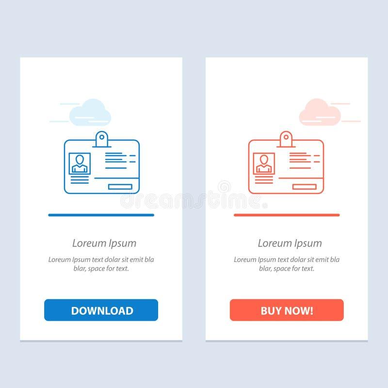 通行证、卡片、身分、Id蓝色和红色下载和现在买网装饰物卡片模板 向量例证