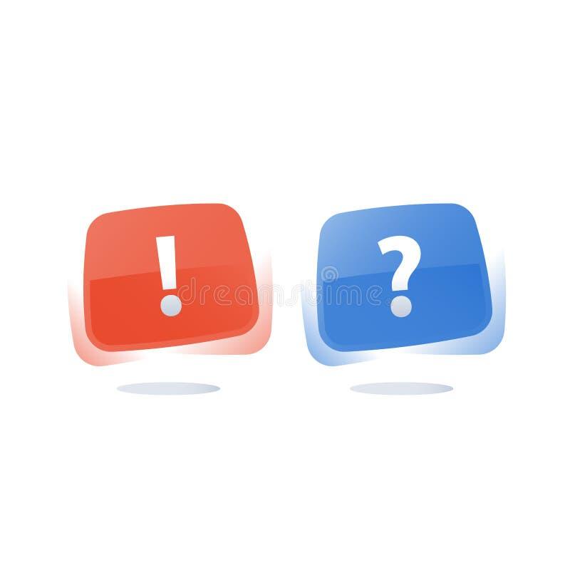 通行证调查、问题和惊叹号,查询表概念 向量例证