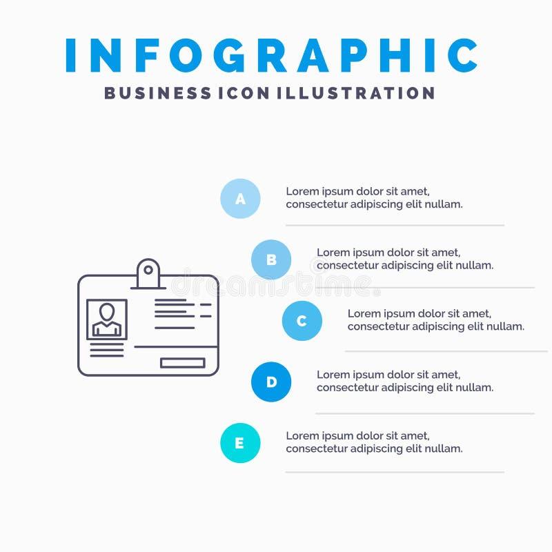 通行证,卡片,身分,Id线象有5步介绍infographics背景 向量例证