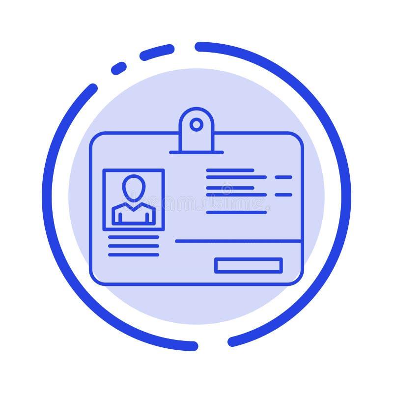 通行证,卡片,身分,Id蓝色虚线线象 向量例证