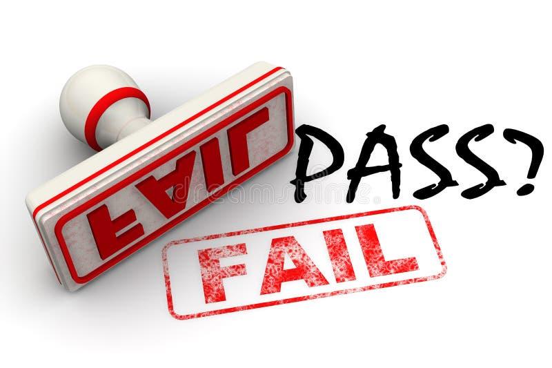 通行证?不,失败 邮票和版本记录 向量例证