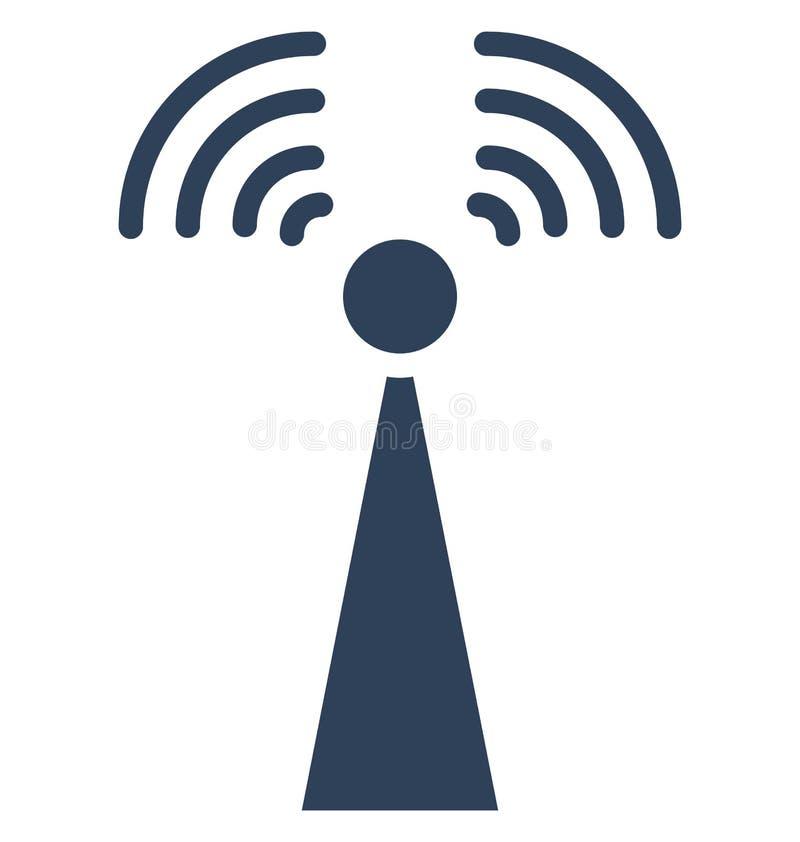 通讯台,信号塔隔绝了在所有大小可以容易地被编辑或修改的传染媒介象 向量例证