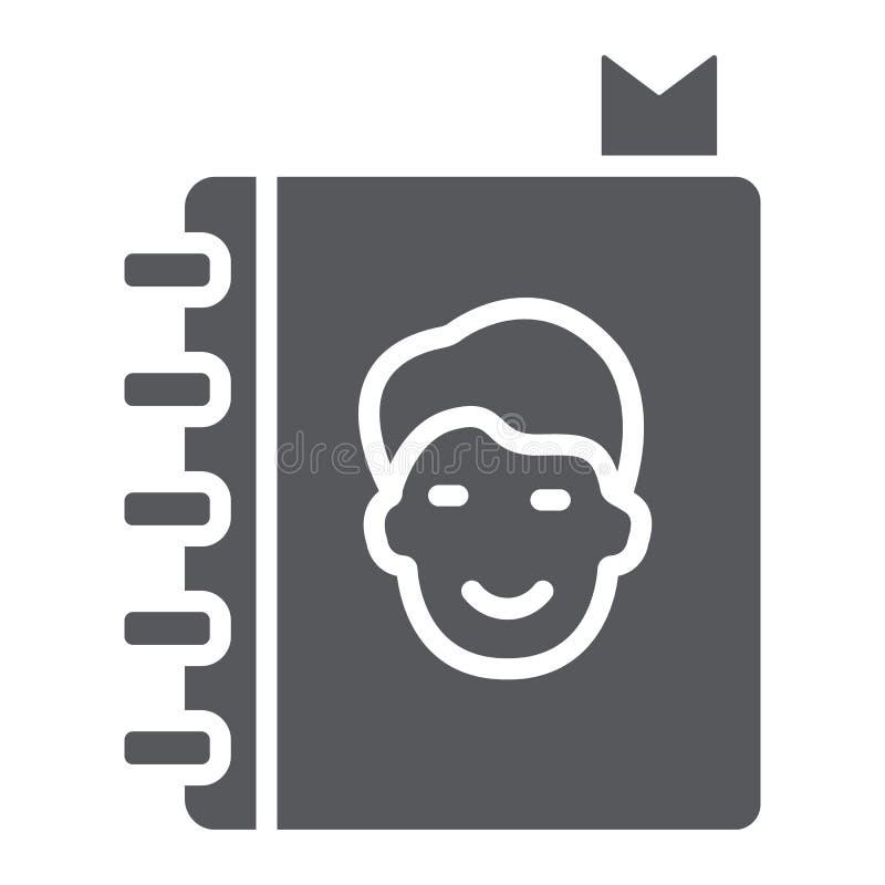 通讯录纵的沟纹象、联络和笔记本,电话簿标志,向量图形,在白色背景的一个坚实样式 向量例证