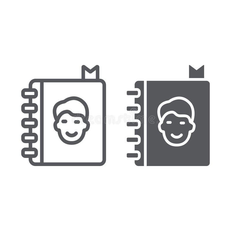 通讯录线和纵的沟纹象、联络和笔记本,电话簿标志,向量图形,在白色的一个线性样式 皇族释放例证