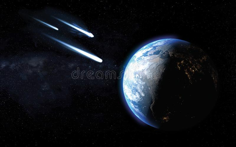 通过三冰冷的彗星或太结束对行星地球的冲击 库存例证