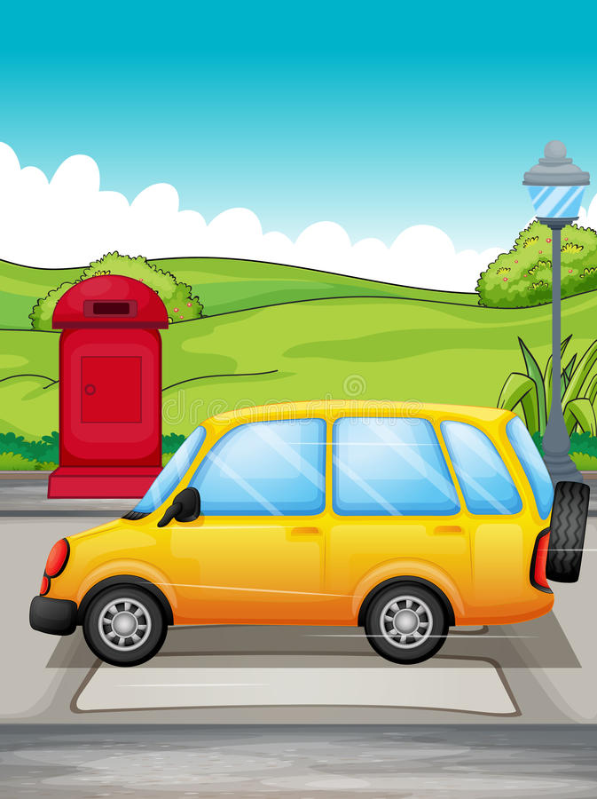 通过在步行者的一辆黄色汽车 库存例证