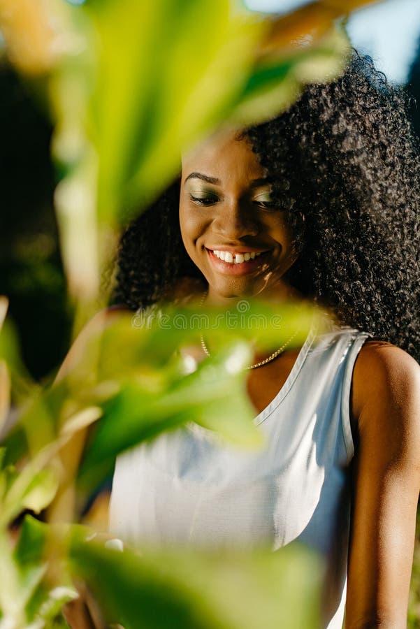通过在美丽的微笑的非洲女孩的被弄脏的绿色植物叶子看有嫉妒阴影和长的卷发的 免版税图库摄影