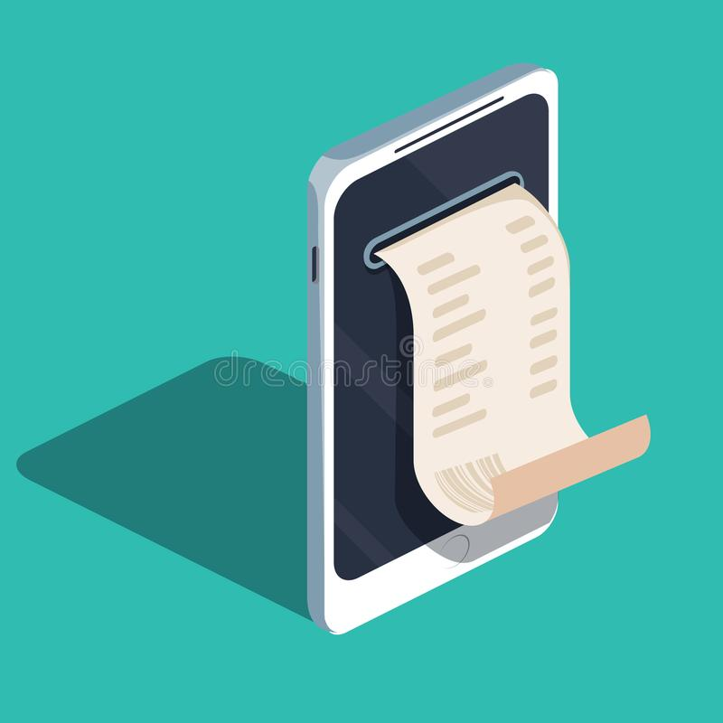 通过手机的付款,付款电子网上,流动钱包,有现金收据的智能手机 向量例证