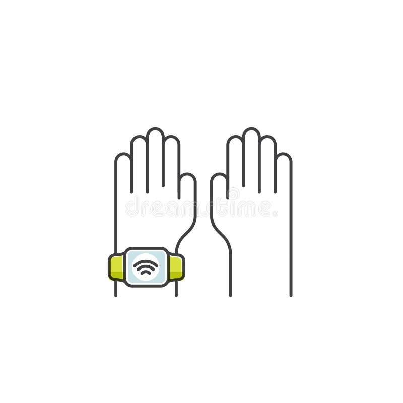 通过手表付的NFC付款 拿着芯片卡的手 支付或使购买不接触或无线方式通过POS终端 皇族释放例证