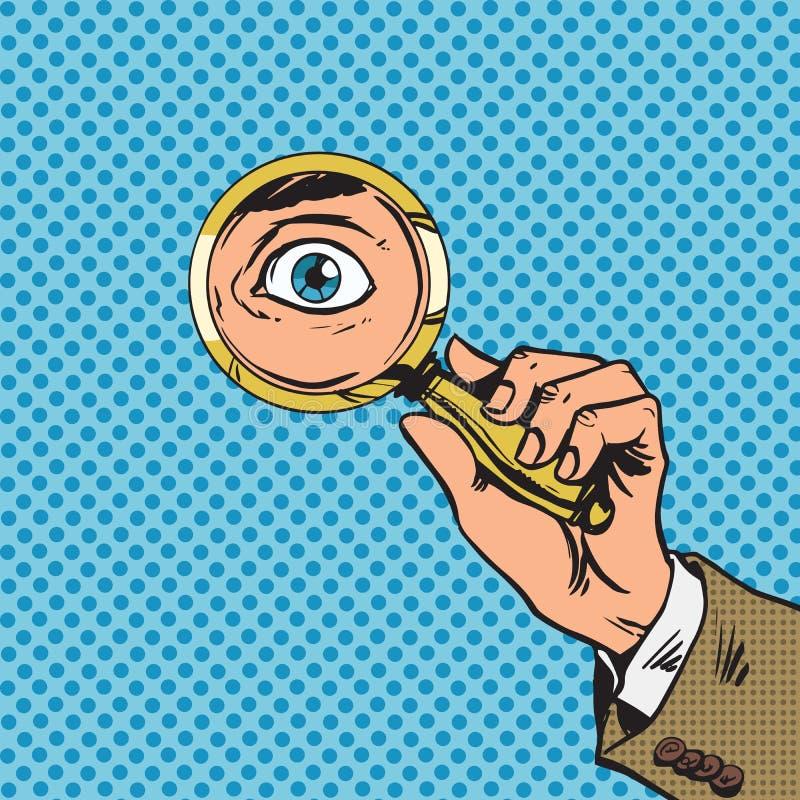 通过搜寻眼睛流行音乐的放大镜看 皇族释放例证