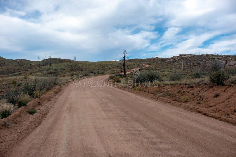 通过森林火灾毁灭的山路 免版税库存照片