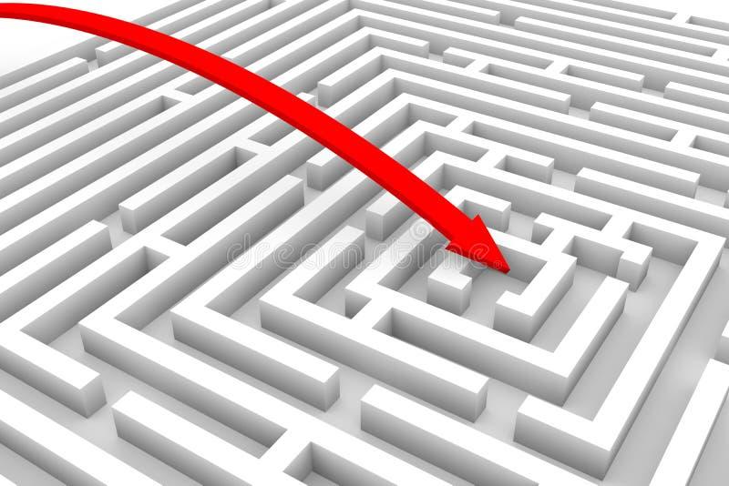 通过红色的箭头迷宫 库存例证