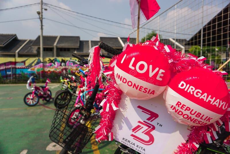 通过装饰自行车庆祝印度尼西亚的独立日 库存图片