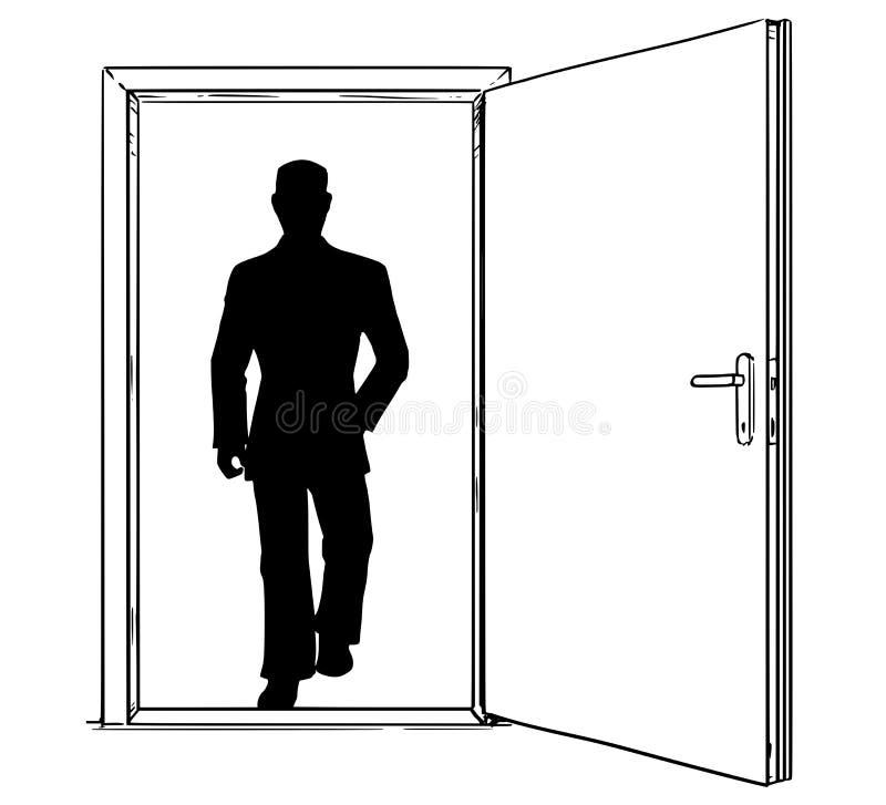 通过走开放现代门和的商人动画片  向量例证