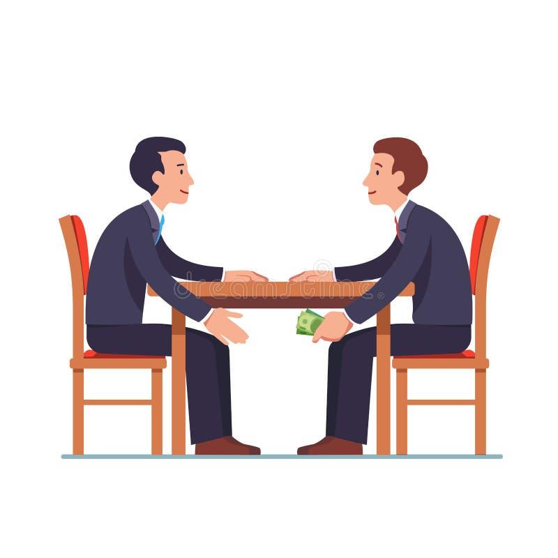 通过金钱的商人在桌下对伙伴 向量例证