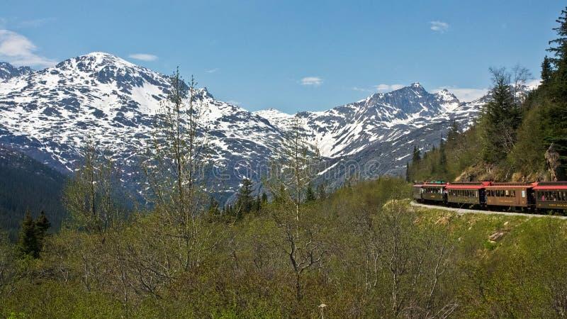 通过铁路途径白色育空 库存照片